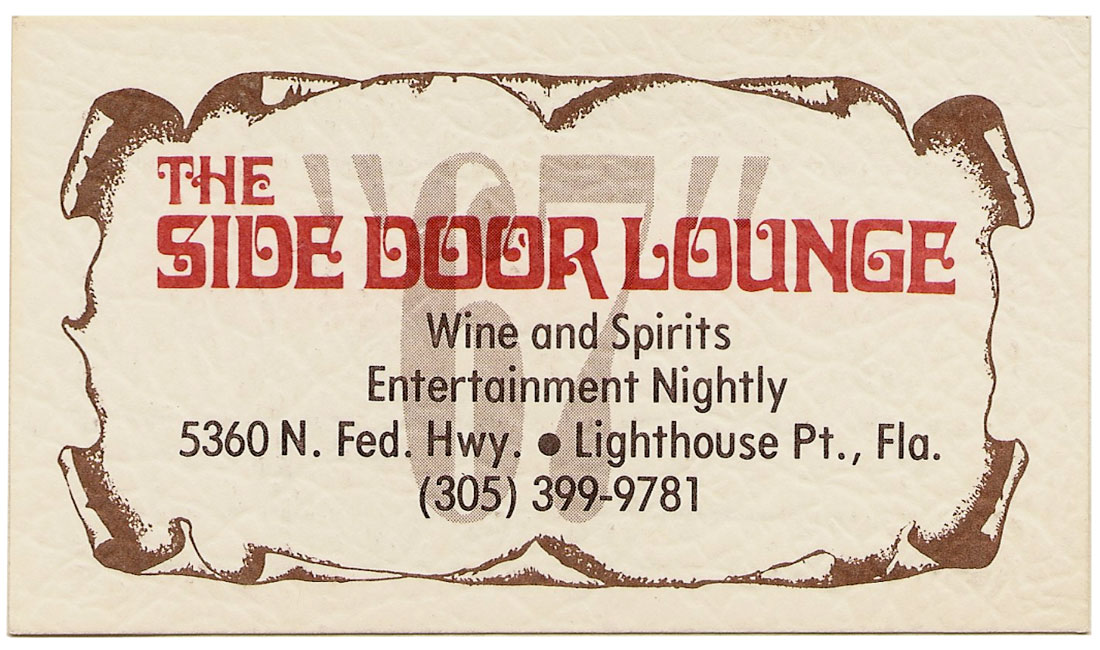 "67 Lounge's ""The Side Door Lounge"" business card front"