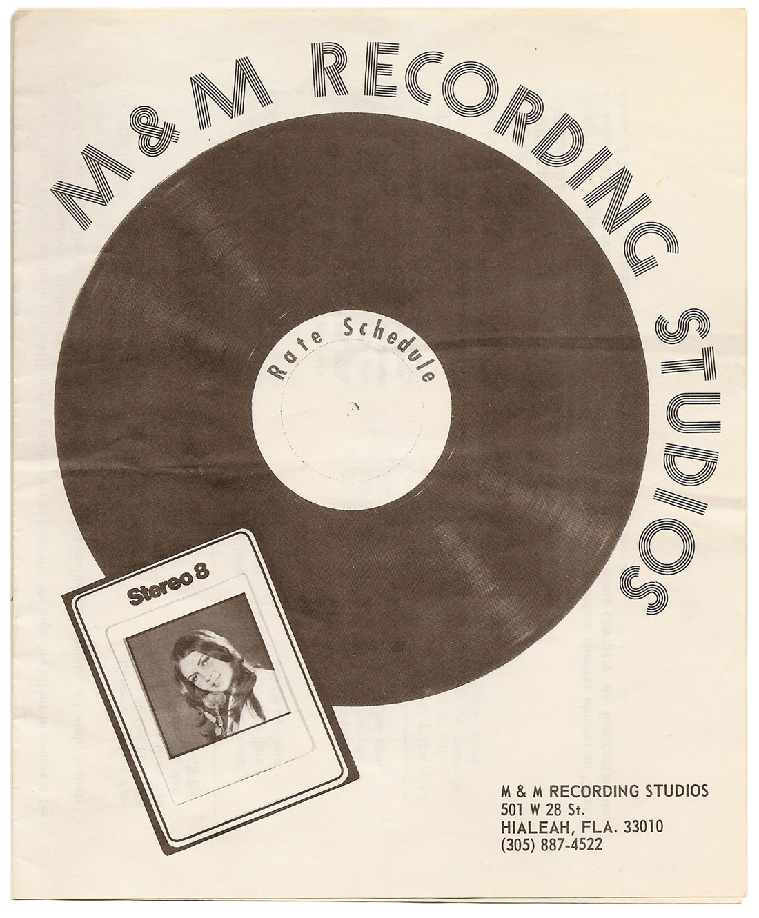 M&M Recording Studios rate-sheet cover