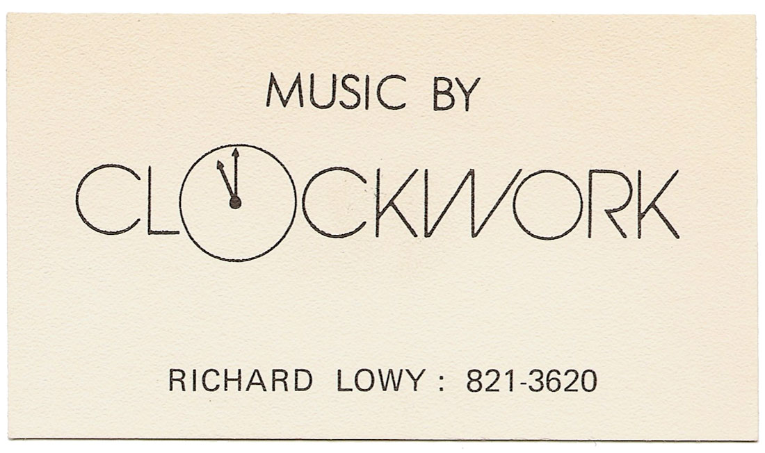 Richard Lowy's Clockwork business card