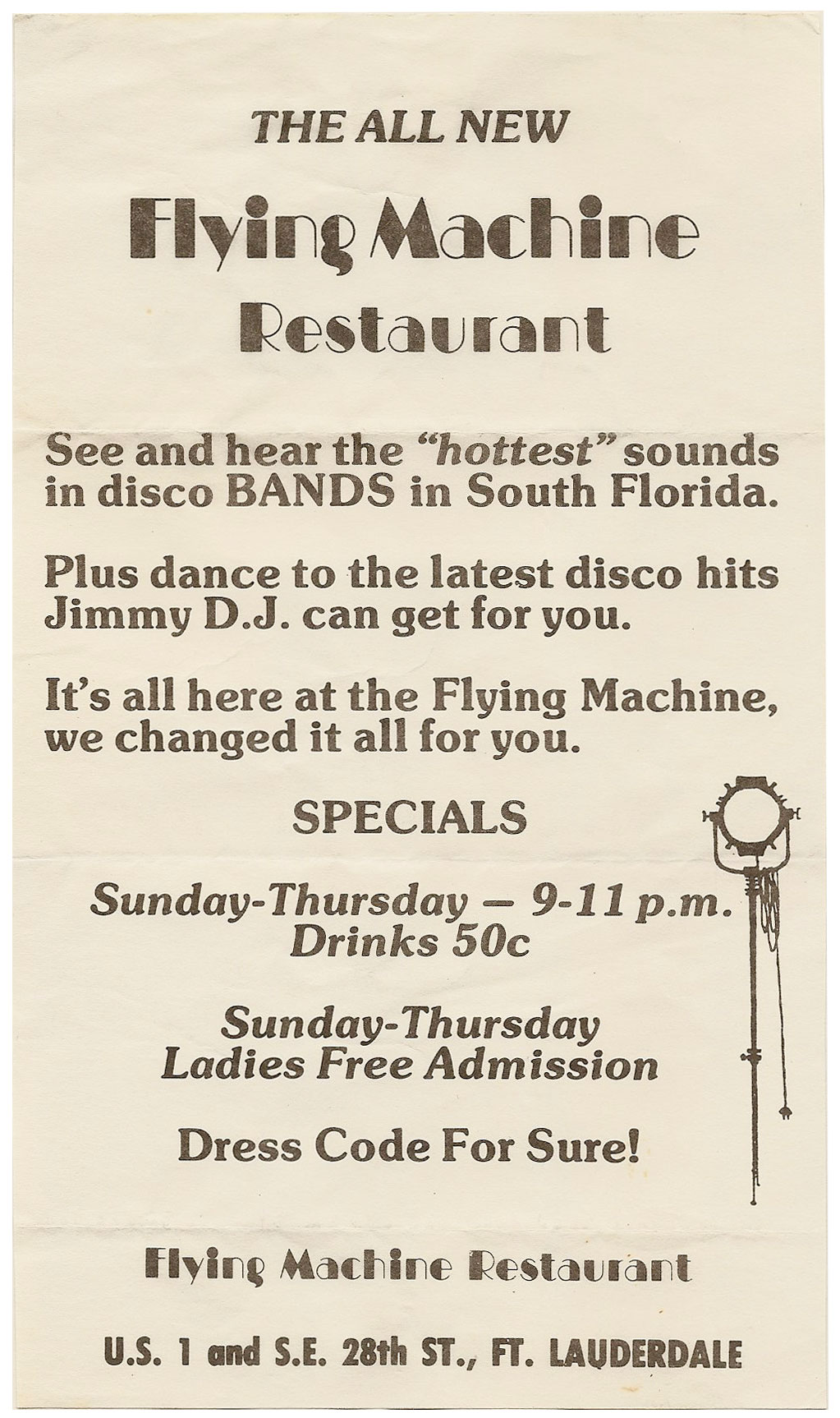 The Flying Machine menu