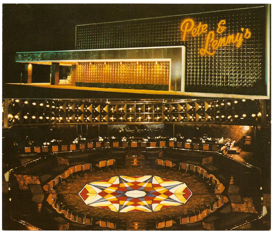 Pete & Lenny's postcard, showing exterior and interior