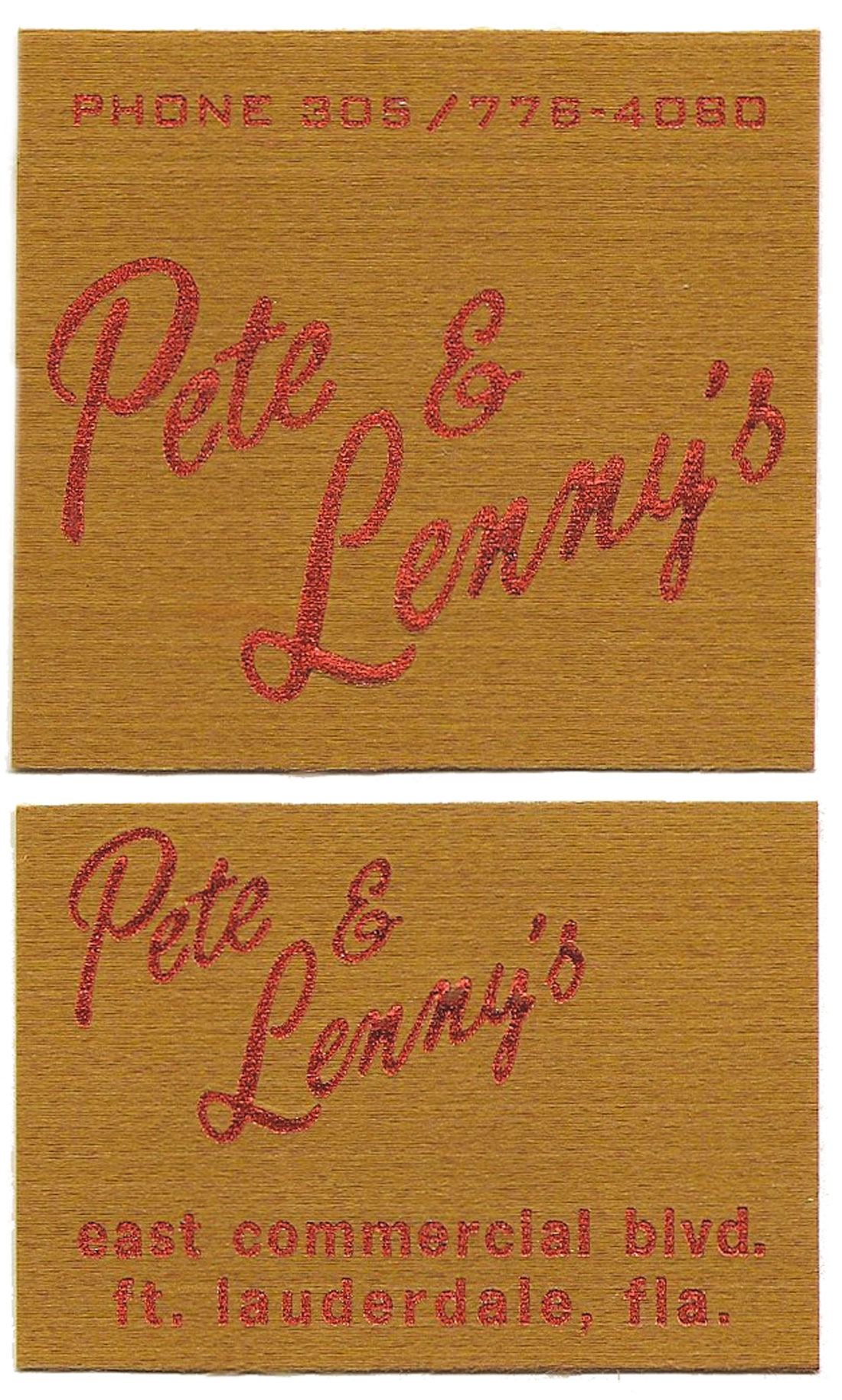 Pete & Lenny's matches